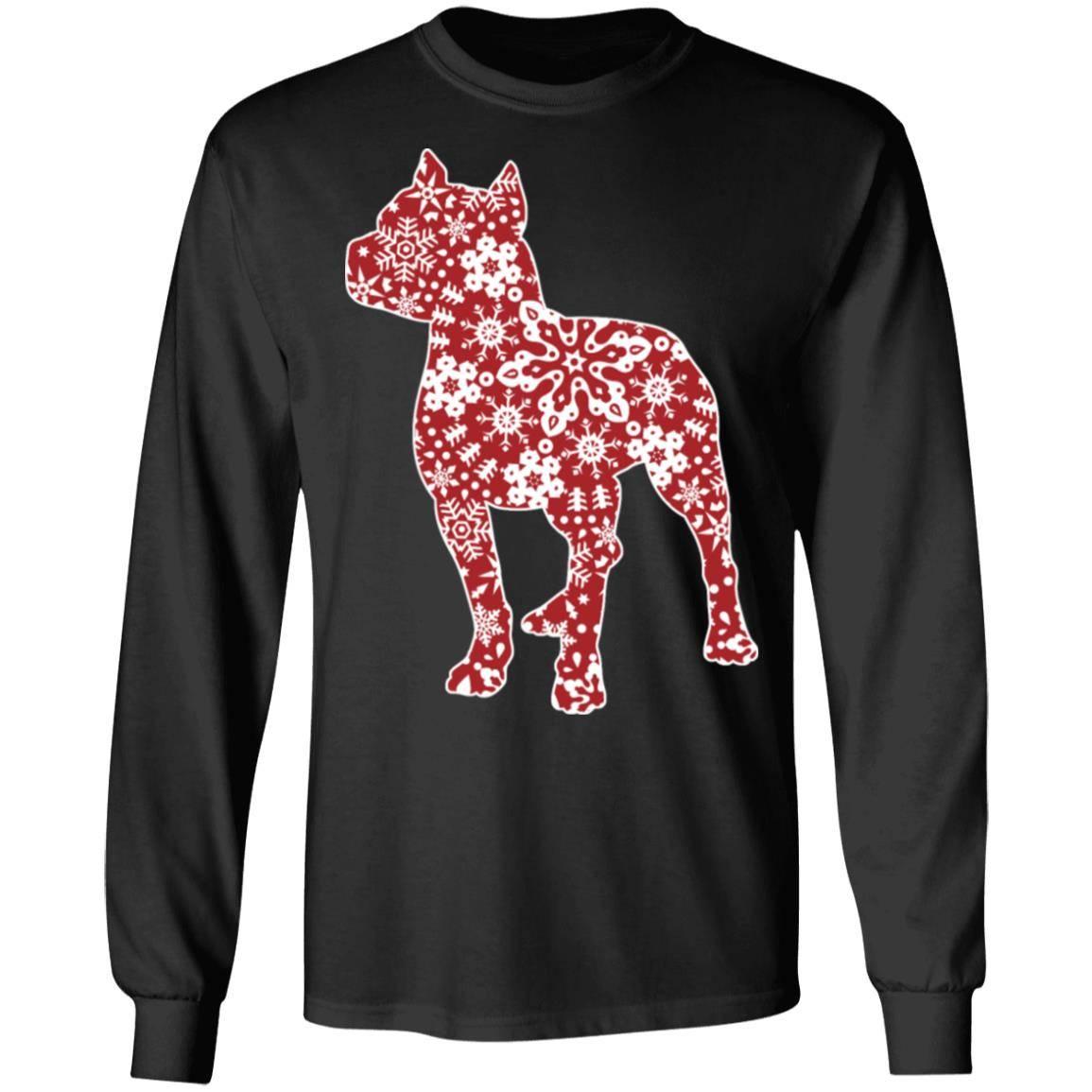 217 – Pitbull Christmas Snowflakes T shirt G240 Gildan LS Ultra Cotton T-Shirt