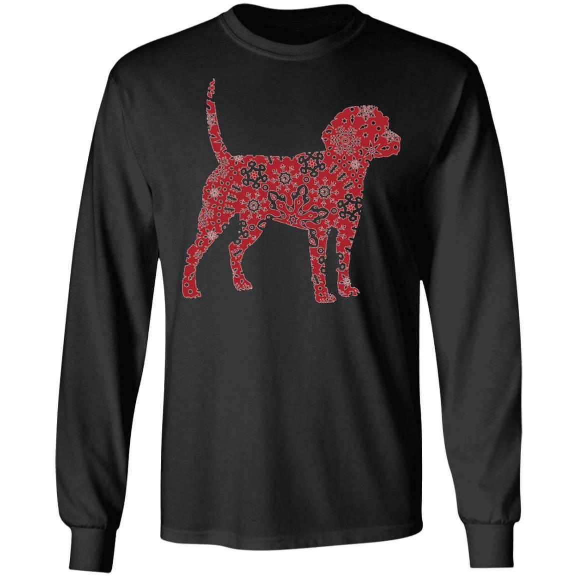 221 – Christmas Boho Red Beagle T shirt G240 Gildan LS Ultra Cotton T-Shirt
