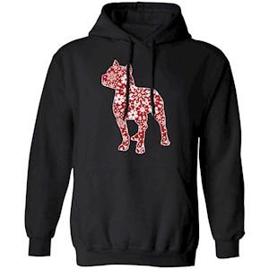 217 – Pitbull Christmas Snowflakes T shirt G185 Gildan Pullover Hoodie 8 oz.