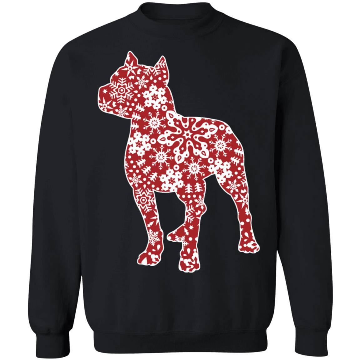 217 – Pitbull Christmas Snowflakes T shirt G180 Gildan Crewneck Pullover Sweatshirt  8 oz.