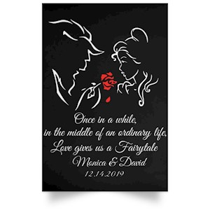 [Personalized] Name And Date Beauty And The Beast Fairytale Poster Gift For Lovers