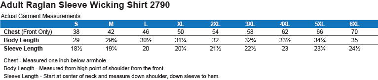 2790 Augusta Raglan Sleeve Wicking Shirt Size Chart