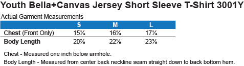 3001Y Bella + Canvas Youth Jersey Short Sleeve T-Shirt Size Chart