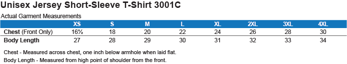 3001C Bella + Canvas Unisex Jersey Short-Sleeve T-Shirt Size Chart