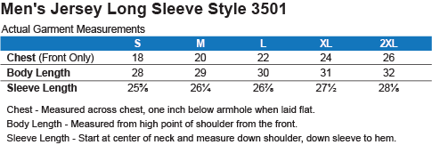 3501 Bella + Canvas Men's Jersey LS T-Shirt Size Chart