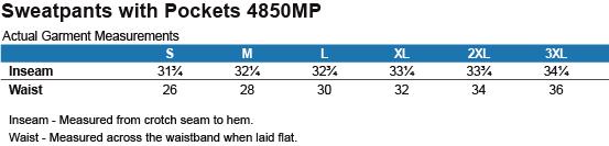 4850MP Jerzees Sweatpants with Pockets Size Chart