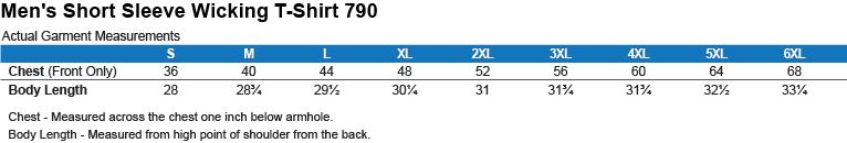 790 Augusta Men's Wicking T-Shirt Size Chart