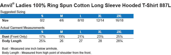 887L Anvil Ladies' LS T-Shirt Hoodie Size Chart
