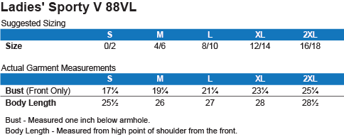 88VL Anvil Ladies' V-Neck T-Shirt Size Chart