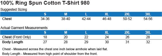 980 Anvil Lightweight T-Shirt 4.5 oz Size Chart