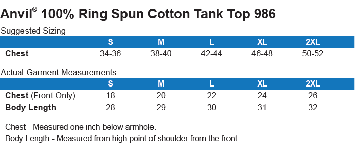 986 Anvil 100% Ringspun Cotton Tank Top Size Chart