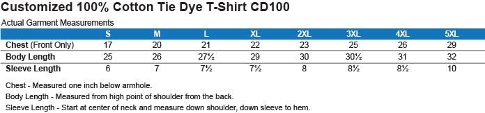 CD100 100% Cotton Tie Dye T-Shirt Size Chart