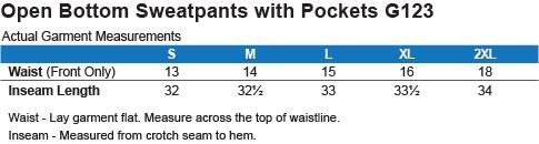 G123 Gildan Open Bottom Sweatpants with Pockets Size Chart