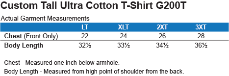 G200T Gildan Tall Ultra Cotton T-Shirt Size Chart