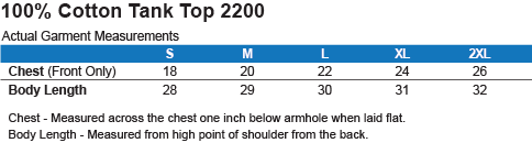 G220 Gildan 100% Cotton Tank Top Size Chart