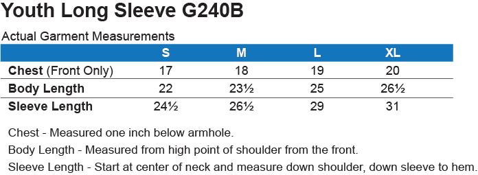 G240B Gildan Youth LS T-Shirt Size Chart