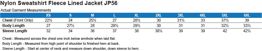 JP56 Port Authority Team Jacket  Size Chart