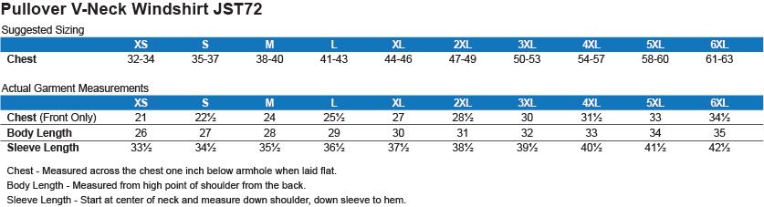 JST72 Sport-Tek Pullover V-Neck Windshirt Size Chart