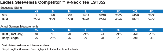 LST352 Sport-Tek Ladies' Sleeveless Moisture Absorbing V-Neck Size Chart