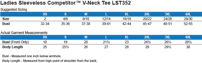 LST352 Sport-Tek Ladies' Sleeveless Moisture Absorbing V-Neck Size Chart
