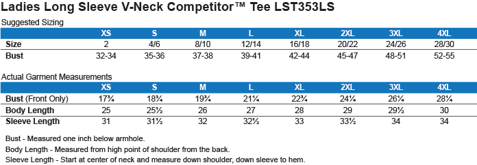 LST353LS Sport-Tek Ladies' LS Performance V-Neck T-Shirt Size Chart