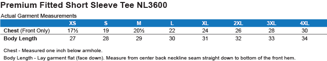 NL3600 Next Level Premium Short Sleeve T-Shirt Size Chart