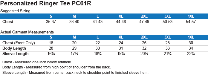 PC54R Port & Co. Ringer Tee Size Chart