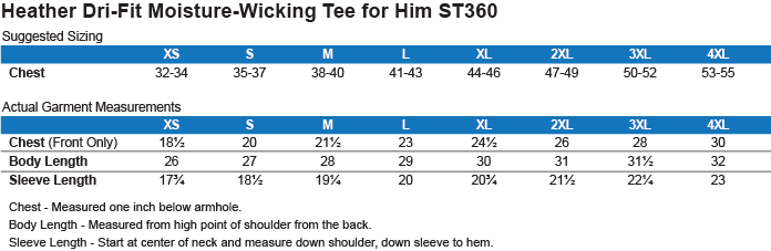 ST360 Sport-Tek Heather Dri-Fit Moisture-Wicking T-Shirt Size Chart