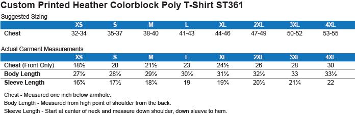 ST361 Sport-Tek Heather Colorblock Poly T-Shirt Size Chart