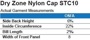 STC10 Sport-Tek Dry Zone Nylon Cap Size Chart