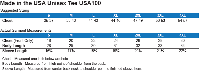 USA100 Port & Co. Made in the USA Unisex T-Shirt Size Chart