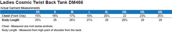 DM466 District Made Ladies Cosmic Twist Back Tank Size Chart