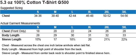 G500 Gildan 5.3 oz. T-Shirt Size Chart