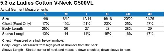 G500VL Gildan Ladies' 5.3 oz. V-Neck T-Shirt Size Chart