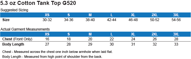 G520 Gildan Cotton Tank Top 5.3 oz. Size Chart