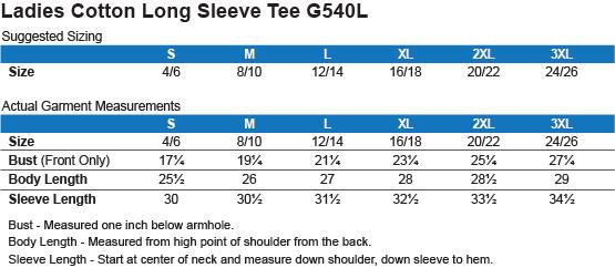 G540L Gildan Ladies' Cotton LS T-Shirt Size Chart