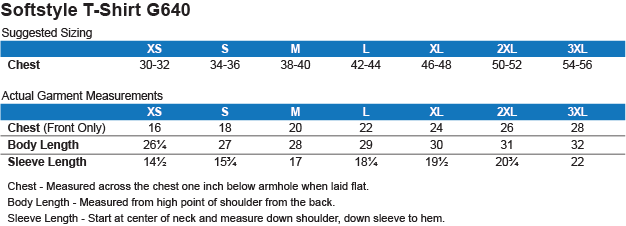 G640 Gildan Softstyle T-Shirt Size Chart