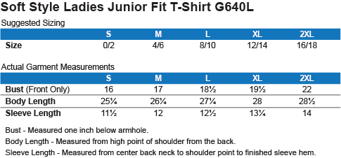 G640L Gildan Softstyle Ladies' T-Shirt Size Chart
