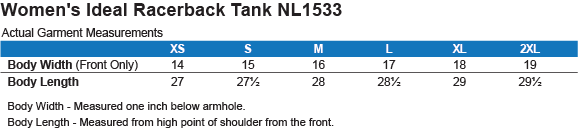NL1533 Next Level Ladies Ideal Racerback Tank Size Chart