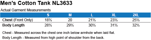 NL3633 Next Level Men's Cotton Tank Size Chart